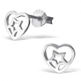 """Stříbrné náušnice pecky """"Hvězdné srdce"""". Ag 925/1000"""